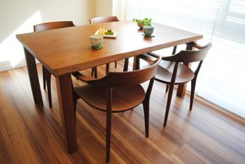 無垢材テーブル 無垢材チェア ウォールナット 無垢材家具